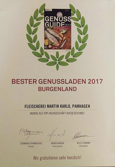 """Auszeichnung """"Bester Genussladen 2017"""""""