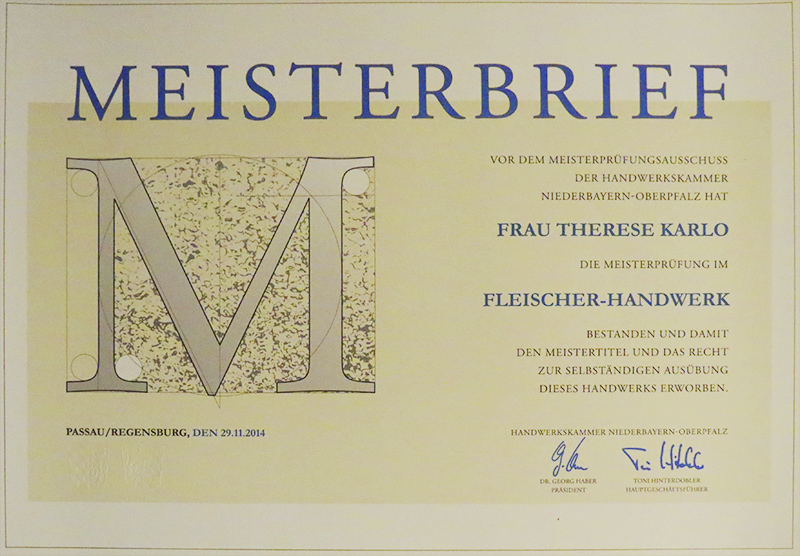 Meisterbrief Therese Karlo